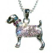 Purple Swarovski Crystal Rottweiler Dog Pendant Chain Necklace