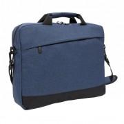 Geanta laptop 15 inch, Everestus, TD, poliester, albastru, saculet de calatorie si eticheta bagaj incluse
