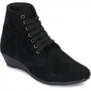 Sapatos Women Black Lace Up Boots