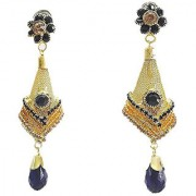Multicoloured Gold-Plated Stone-Studded Antique Jhumka Earrings (9 cm long) - Black