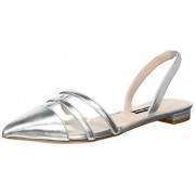 NINE WEST Women's Available Synthetic Mule, Silver, 7.5 M US