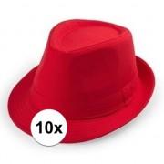 Geen 10x Rood trilby verkleed hoedjes voor volwassenen
