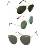 Rich Club Cat-eye, Round, Aviator Sunglasses(Green, Grey, Green)