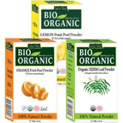 Indus valley Bio Organic Lemon Peel Neem Orange Peel Powder Combo-Set of 3