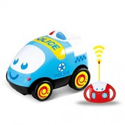 Remote Control Car, RC Cartoon Police Car with Music Electric Radio Controlled Cars for Kids