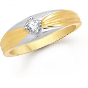 VK Jewels Solitaire Gold and Rhodium Plated Alloy Ring for Men Made With Cubic Zirconia - FR2546G [VKFR2546G18]