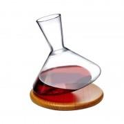 Nude Decanter vino di design Balance con base in legno