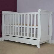 Patut copii din lemn Mira 120x60 cm alb cu sertar