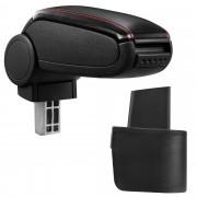 [pro.tec] Márkaspecifikus kartámasz / könyöklő autóba - Nissan Micra (K12) modellhez - műbőr - fekete piros varrással