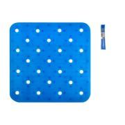 Covoras antiderapant dus, 54x54 cm, Pvc, Albastru