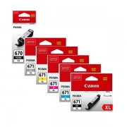 6 Pack Genuine Canon PGI-670XL, CLI-671XL High Yield Ink Combo [1BK,1PBK,1C,1M,1Y,1GY]