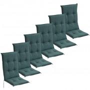 vidaXL Podušky na záhradné sedadlá, 6 ks, 117x49 cm, modré