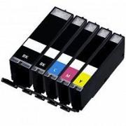 """Conjunto 5 Tinteiros Canon Compatíveis PGI-525BK/CLI-526BK/CLI-526C/CLI-526M/CLI-526Y"""
