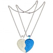 Men Style Couple Broken Heart choker Necklaces Engrave Love Blue And Silver Stainless Steel Necklace Pendant