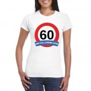 Bellatio Decorations Verkeersbord 60 jaar t-shirt wit dames