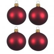 Decoris 4x Donkerrode glazen kerstballen 10 cm mat