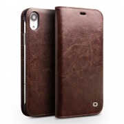 QIALINO Genuine Cowhide Leather Wallet Phone Case for iPhone XR 6.1 inch - Brown