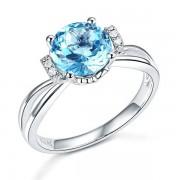 Inel Borealy Aur Alb 18 K 2 Ct Swiss Topaz Natural Blue Wedding Promise