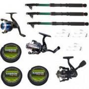 Set 3 mulinete echipate pentru pescuit sportiv cu lansete eastshark de 3.6m trei gute si 3 montura