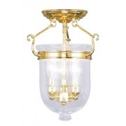 Livex Lighting 5061-02 Flush Mount with Clear Glass Shades, Polished Brass