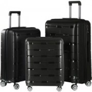 Nasher Miles Santorini PP Hard-Sided Luggage Set Of 3 Trolley/Travel/Tourist Bags (55, 65 & 75 Cm) Black Check-in Luggage - 28 inch(Black)