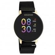 OOZOO Smartwatch Q00122 Mesh staal goudkleurig-zwart 43 mm