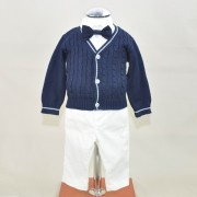 "Soffi Baby Compleu Botez baietei ""CRISTIAN"" 4 piese cu sfeteras bleumaren, camasa alba si pantalon alb"