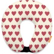 ORKA Digital Printed Spandex With Micro Beads U Neck Pillow(Cerise And White)