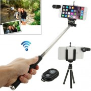 7 in 1 180 Degree Fisheye Lens + Marco Lens + Selfie Monopod + Shutter Remote Kit with Tripod & Phone Clip & Lens Clip(Black)