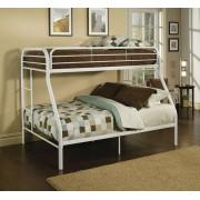 Acme 02053WH Tritan twin over full white finish tubular metal bunk bed