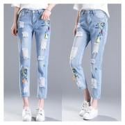 Jeans Slim Bordado Agujeros Pantalones Vaqueros Lápiz Pantalones -Azul Claro