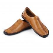 1 Par De Moda Slip-on Flat Heel Shoes Soft Moccasin Todos-match Ocio Marrón Claro