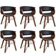vidaXL Комплект модерни столове за хранене от изкуствена кожа и дърво, 6 броя