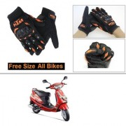 AutoStark Gloves KTM Bike Riding Gloves Orange and Black Riding Gloves Free Size For Mahindra Duro DZ