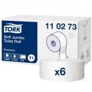 Essity Professional Hygiene Germany GmbH Tork Premium Toilettenpapier Jumbo T1 Premium, 2-lagig, weiß, Mit Dekoprägung, weich, 1 Paket = 6 Rollen x 360 m = 2.160 m