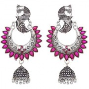 Desire Collection German Silver Earrings Peacock Design Oxidised Silver Plated Jhumka Jhumki Earrings For Women Girls