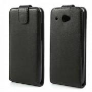 Кожен калъф с магнитна закопчалка и вертикално отваряне за HTC Desire 601 Zara - черен