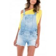 Salsa Salopette short en jean Push Up délavage clair - Wonder