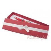 Piros színű, masnis ékszertartó doboz (nyaklánc, karlánc)