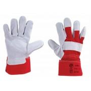 Védőkesztyű, marha hasítékbőr, 10-es méret, szürke/piros (ME1155)