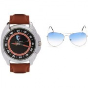CALIBRO Men's Black-Brown watch Skyblue Aviator Sunglass