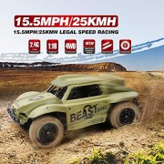 KidzFan Remote Control Off Road 2.4 Ghz Rally Car | Short Course Truck 4WD | 1:18 Scale | 15.5MPH/25KMH Legal Speed Racing | Electric Race Desert Power Buggy