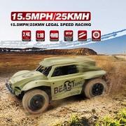 KidzFan™ Short Course Truck 4WD Rally Car | 1:18 Scale | 15.5MPH/25KMH Legal Speed Racing | Electric Race Desert Power Buggy