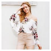 Sexy Slash Neck Shirt Top Mujer Blusa Loose Manga Flare Flores Impresiones -Blanco