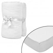 vidaXL 2 kom Bijele Presvlake za Madrac 140x200-160x200cm Pamučni Žersej