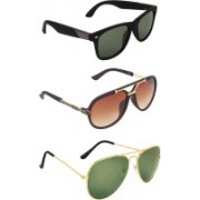Zyaden Wayfarer, Aviator, Rectangular Sunglasses(Green, Brown, Green)