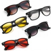 Elligator Wayfarer Sunglasses(Red, Brown, Yellow, Clear, Black)