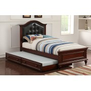 2 pc Trista collection espresso finish wood twin trundle bed black tufted headboard