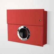Radius Design Letterman XXL Briefkasten rot (RAL 3020) mit Klingel in rot ohne Pfosten