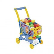 TOYMYTOY Kids Shopping Cart Children Trolley Basket Play Toy Baby Walker Push Along Toy (Blue)